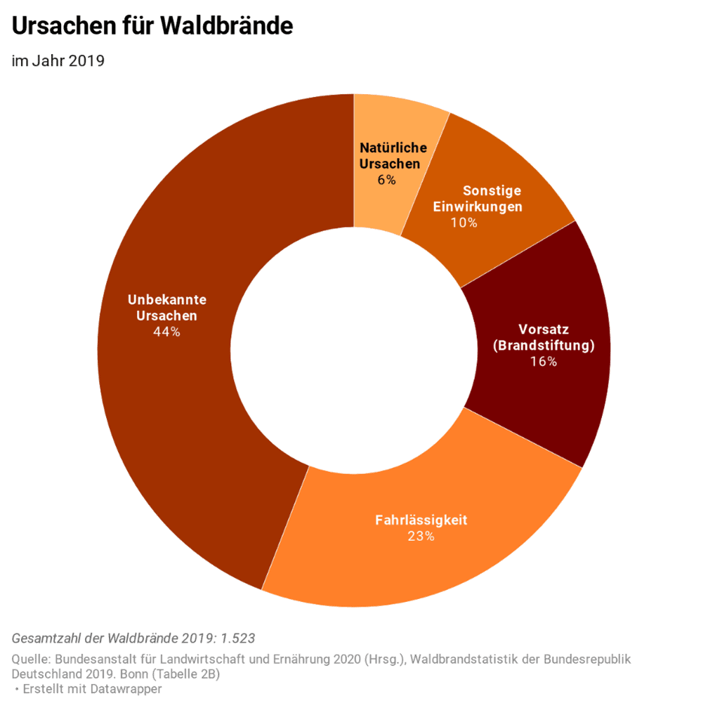 Statistik Waldbrandursachen 2019